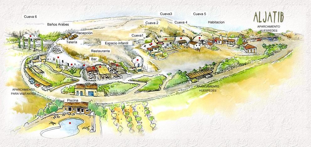 Übersichtsplan Al Jatib, unser Angebot, der Weiler, la aldea, map of the complex, hamlet, Andalusian caves